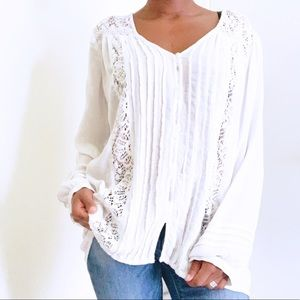 AEO Pleated High-Lo Lace Peasant Blouse, Large